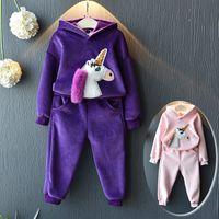 ingrosso cappuccio con stampa unicorno-Baby Girl Clothes Unicorn 3D Stampa Felpe Tops + Pants 2pcs Abbigliamento bambini Set Tuta Bambini Felpe Costumi Abiti