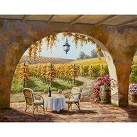 pinturas de casas mediterraneas al por mayor-Pinturas del arte del jardín en el lienzo mediterráneo Viñedo para dos paisajes pintados a mano que pintan para la decoración casera