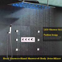 ingrosso getti d'acqua per massaggi corpo-Bagno di lusso 6 Body Jets Massage Sistemi doccia SUS304 12x24 pollici Doccia rettangolare 3 funzioni Deviatore valvola JE2550