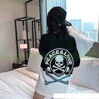 schädelt-shirt frauen groihandel-2018 heiß Mastermind Japan MMJ Schädel Druck T-Shirt-Qualitäts-Frauen Street Luxury Baumwollbeiläufiges desiger Longsleeve