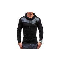 deri patchwork hoodie toptan satış-Erkek Tasarımcı Marka Hoodies Deri Patchwork Hoodies Lüks Moda Spor Kazak Rahat Kapüşonlu Kazak Kazak Tops