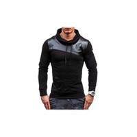 Wholesale leather sweatshirts resale online - Mens Designer Brand Hoodies Leather Patchwork Hoodies Luxury Fashion Sports Pullover Casual Hooded Sweater Sweatshirt Tops