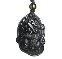 gran collar de moda negro al por mayor-Natural Obsidiana Negra Tallada Dragón Grande PiXiu Lucky Blessing Amuleto Colgante + Collar Libre Joyería de Moda para mujer hombre