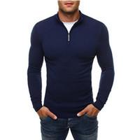 reißverschluss-pullover männer großhandel-2019 Männer warme lose Winter Solide Rollkragen Lässige Zip Up Sweatshirt Pullover Tops reine Farbe Pullover