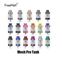 atomizador de doble tanque al por mayor-Auténtico FreeMax Mesh Pro Tank 5 ml de capacidad Resina Metal Fibra de carbono Punta de goteo Sub Ohm Atomizador para bobina de malla doble original 100% genuino