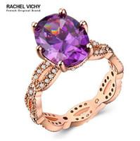 anéis de noivado roxos para mulheres venda por atacado-RACHEL VICHY Grande Azul Roxo CZ Zircon Pedra Do Vintage Rosa Anéis De Ouro para As Mulheres Da Moda Jóias De Noivado Do Casamento B1059