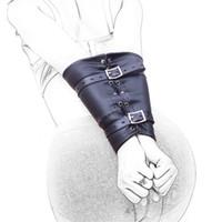 bdsm el kollukları toptan satış-Bilek Manşetleri Sınırlamalar Yumuşak Siyah PU Deri Geri Esaret El Manşetleri Kol Binder, BDSM Armbinder Yetişkin Çiftler Için Seks Prdoucts