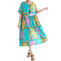 sarı kısa kollu gündelik elbise toptan satış-Yaz kadın pamuk uzun dress çiçek baskı kontrast renk casual bayanlar elbiseler kısa kollu bohemian gevşek dress sarı / gül
