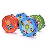 hölzerne hand-rasseltrommel großhandel-Holzspielzeug Baby Handtrommel Spielzeug Säuglings Holz Musikinstrumente Spielzeug Kinder Tamburin Beat Handbell Rasseln Kinder Lernspielzeug