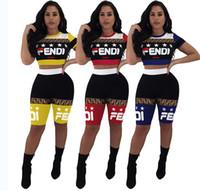 neuer styl großhandel-Frau Komplette Reihe von Kleidung Europa und Amerika Russland Square F Brief Druck Kurzarm Zweiteiler Mode Spleiß Sportswear neuen Stil