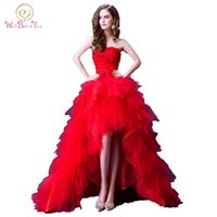 kırmızı askısız kısa tül elbise toptan satış-100% Gerçek Görüntü Lüks Kırmızı Abiye Kısa Ön Uzun Geri 2019 Katmanlı Tül Straplez Çiçek Dantel Balo