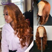 Wholesale Orange Brown Lace Front Human Hair Wigs With Baby Hair Density Remy Meddle Ratio Body Wave Lace Wig For Women
