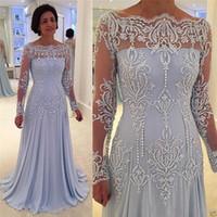 laço do vestido do noivo da mãe por muito tempo venda por atacado-Mangas Compridas Formais Mãe Do Noivo Da Noiva Vestidos Fora Do Ombro Apliques Lace Pérolas Vestidos de Noite Plus Size Personalizar