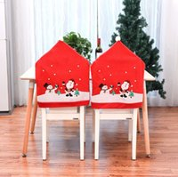 Wholesale red high chairs for sale - Group buy 2020 New Santa Hat Chair Covers Christmas Decor Dinner Chair Xmas Cap Sets Non woven Dinner Table Red Hat Chair Back Covers For Home