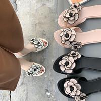 su geçirmez sandalet kadın toptan satış-Yeni Kadın Sandalet Çiçek Kemer Destek Slaytlar Sandalet Jöle Ayakkabı Burnu açık Yaz Plaj Rahat Daireler su geçirmez yağmur gün