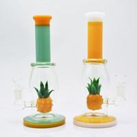 продажа бонгов оптовых-11-дюймовый ананас бонг новое прибытие стеклянная труба водопровода горячее надувательство желтый зеленый мазок буровой установки хорошая функция высокий нефтяной вышке для продажи