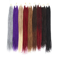 Wholesale braiding hair 22 inches resale online - 12 Strands Pack Synthetic Crochet Braids Hair Extensions inch inch Kanekalon Fiber Twist Pure Color