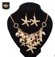 conjunto de joyas de doble perla al por mayor-Playa mar joyas estrella caracol aretes collar conjunto estrella perla concha doble collares 925 boda de plata esterlina