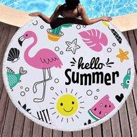 alfombra de sandia al por mayor-Fruta de verano Serie de sandía Engrosada Toalla de playa redonda Microfibra Toalla de baño para el baño Natación Alfombra Microfibra Paño con borlas
