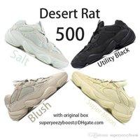 yeni yardımcı kutu toptan satış-Yeni 500 Tuz Koşu Ayakkabı Mens Womens Çöl Sıçan 500 Yardımcı Siyah Allık F36640 DB2908 EE7287 Kanye West Tasarımcı Çizmeler ile orijinal kutu