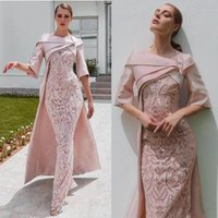 Wholesale long cape dresses resale online - Elegant African Dubai Evening Dresses with Cape Blush Pink Lace Stain Half Sleeve Formal Party Occasion Prom Dress