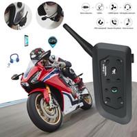 kask walkie talkies kulaklıklar toptan satış-2019 Motosiklet Kaskı Telsiz Motosiklet Kaskı moto Dahili kulaklık için 1200 M Dubleks Binme Telsiz V6Pro 1200m
