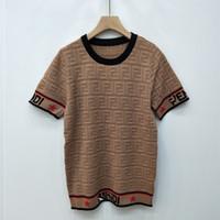 gömlekler örme toptan satış-Yaz Bayan Tasarımcı T Shirt Buz Ipek Boncuk Kumaş Hollow Harfler Kadın Giyim Kol Kısa Kollu Örgü Bayan Tasarımcı Giyim