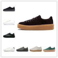 designer calçados creeper venda por atacado-PUMA Nova Rihanna Fenty Creeper PM Cesta Clássica Plataforma Sapatos Casuais de Veludo Rachado Camurça De Couro Das Mulheres Dos Homens de Moda Mens tênis de grife