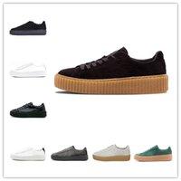 diseñador de zapatos creeper al por mayor-PUMA Nueva Rihanna Fenty Creeper PM Classic Basket Plataforma zapatos casuales de terciopelo de cuero agrietado Suede Hombres Mujeres Moda para hombre Diseñador Zapatillas
