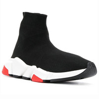Wholesale tennis shoes brand online - Socks Designer Shoes Luxury Brand Speed Trainers Race Runners Black Red Triple Black Flat Men and Women Fashion Boots Sneakers