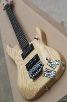 Wholesale guitar for sale - Natural wood color ASH guitar with reverse headstock HH pickup Floyd Rose Chrome hardware custom service