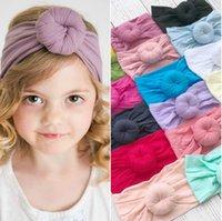 cintas para la cabeza suaves al por mayor-21 colores de moda del bebé del turbante de nylon con banda de sujeción súper bola suave Bohemia accesorios para el cabello de los niños los niños de las vendas de 16 * 9 cm