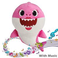 peluche jouet achat en gros de-30CM BABY SHARK Peluche Jouets 12inch Musique Anglais Chant StuffedPlush Poupées Chanter Musique Chansons Requin Jouet Brighting Shark Papa Maman Grand-mère
