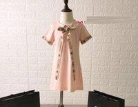 neue kleider mädchen revers großhandel-2-8 Mädchen Kleider Sommer 2019 Neue Kinder Kleider Mädchen Revers Ein Kleid aus römischer Baumwolle