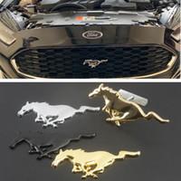 ingrosso badge di ford mustang-Per Ford Mustang Shelby GT 3D Metallo cromato Argento Cavallo da corsa Testa anteriore Motore Cappuccio Griglia Emblema Badge