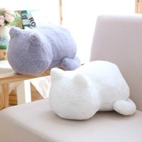 Wholesale animal shape cushions resale online - 1pcs Funny Cat Plush Cushions Pillow Back Shadow Solid Color Comfortable Cushion Cat Shape Filled Animal Cushion Pillow Toys