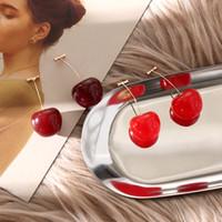 ohrringe arbeiten sommer großhandel-Neue Mode Rote Kirsche Obst einfache Ohrringe Für Frauen Quaste Baumeln Ohrringe Süße Lange Anhänger Mädchen Geschenk Sommer Korea Schmuck