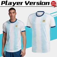 camisetas de futbol uniformes argentina al por mayor-Jugador versión 2019 Copa América Argentina inicio camisetas de fútbol # 10 MESSI # 22 LAUTARO 19/20 Camiseta de fútbol 2019 Equipo nacional Uniformes de fútbol