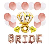 düğün süs balonları toptan satış-28 Parça Suit Bekarlığa Veda Partisi Gül Altın Balon Düğün Kutlamaları Süslemeleri Balonlar Takım Ben Elmas Yüzük Şekli Gelin Mektubu 8 5hy A1
