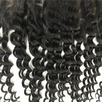 Wholesale illusions hair resale online - Deep wave x2 illusion Indian remy human hair ear to ear Lace Frontal with Baby Hair