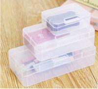 прозрачные пластиковые визитки оптовых-Transparent Plastic Business Card Storage Box Clear Rectangle Stationery Storage Case Sundries Cosmetics Small Jewelry Organizer S M L