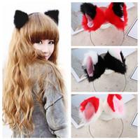 diademas de piel para mujer al por mayor-HOOH Girls Night Party Club Hairbands Fur Cat Animal Ear Pattern Diademas Bell Clips Mujeres Ear Hair Hoop Accesorios para el cabello