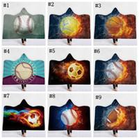 Wholesale multi color balls online - Soccer Hooded Sherpa Blanket Sport Ball Pattern Soft Printed American Football Cloak Blanket plaids Children Adult Baseball blankets MMA1121
