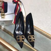 resbalón del tacón alto al por mayor-2019 Diseñador de moda de lujo zapatos de mujer tacones altos 6 cm 8 cm Negro Slip-On cuero en punta del pie bombas zapatos de vestir 35-40