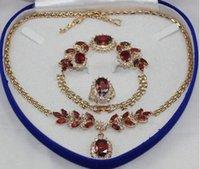 kabuk sesleri toptan satış-Kadın Düğün hızlı kargo GP Altın tonlu Kakma Kırmızı kristal Kolye Bilezik Yüzük Küpe seti gerçek gümüş-takı