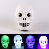 Wholesale skull head lamps for sale - Group buy Flashing Skull Shaped Lantern Changed Colors Small Ghost Head Light Led Lamps Fit CafÉ Restaurant Halloween Decoration cl E1