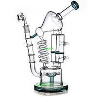 ingrosso bicchiere d'acqua di cera di vetro-Enorme riciclatore di vetro bong oil rig heady pipe hitman tubi d'acqua bubbler coil tube nido d'ape bong birdcage perc quarzo banger dab rigs cera