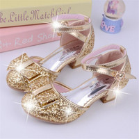 Wholesale high heels shoes for children resale online - Children Princess Sequined Sandals Kids Girls Wedding Shoes High Heels Dress Shoes Party For Girls Pink size