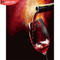 Wholesale canvas paintings wine glasses for sale - Group buy HUACAN Painting By Number Red Wine Glass Drawing On Canvas HandPainted Painting Art Gift DIY Pictures By Number Kits Home Decor