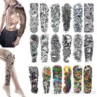 tatuajes de brazo para hombres al por mayor-Tatuaje temporal de brazo completo, tatuaje corporal, tatuaje de calavera impermeable, tatuaje floral para hombres, mujeres